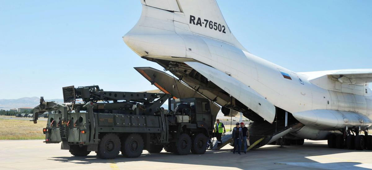 A handout picture taken and released on August 27, 2019, by the Turkish Defence Ministry shows a Russian military cargo plane, carrying S-400 missile defence system from Russia.