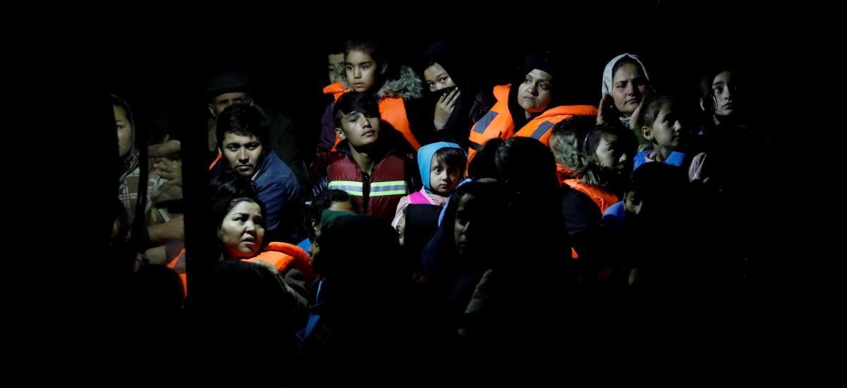 Migrants from Afghanistan, rescued at open sea, are seen onboard a Frontex patrol vessel, at the port of Skala Sikamias, on the island of Lesbos, Greece, October 17, 2019.
