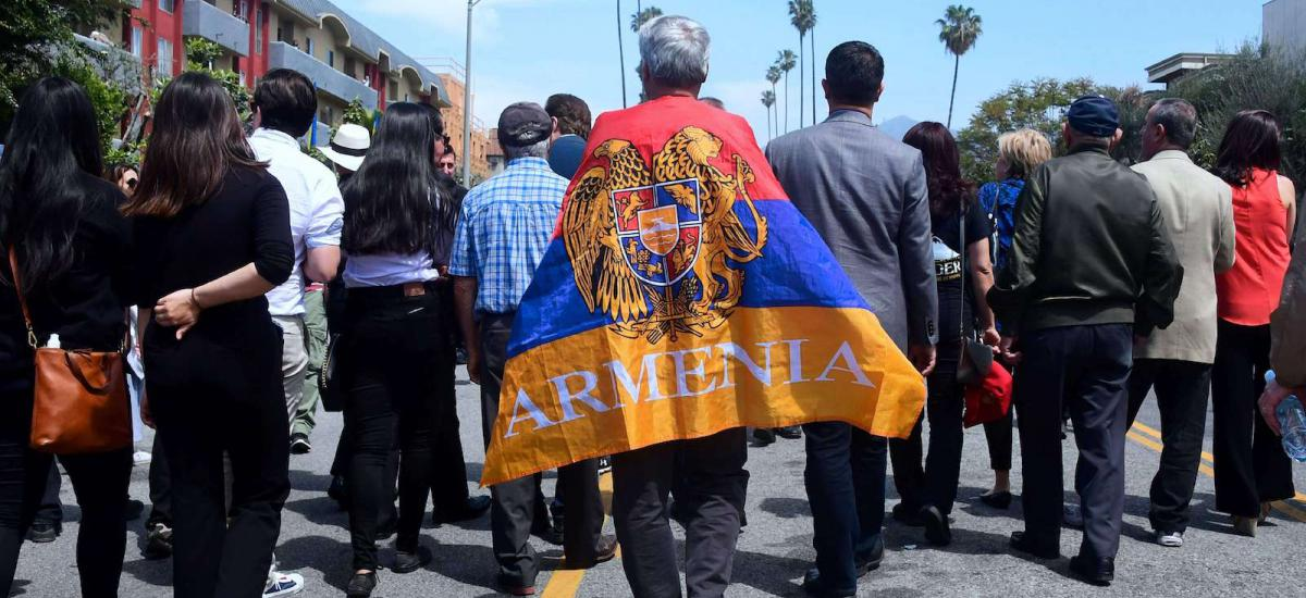 In this file photo taken on April 24, 2018 Armenian-Americans march in protest through the Little Armenia neighborhood of Hollywood, California demanding recognition by Turkey on the 103rd anniversary of the 1915 Armenian genocide, which Turkey insists did not happen.