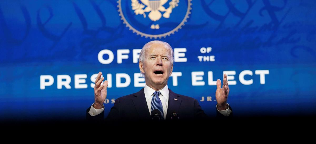 U.S. President-elect Joe Biden speaks about the violence that took place at the U.S. Capitol as he announces his Justice Department nominees at his transition headquarters in Wilmington, Delaware, U.S., January 7, 2021. REUTERS/Kevin Lamarque